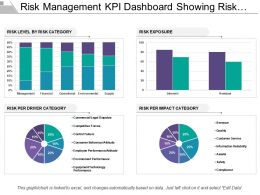 Risk Management Kpi Dashboard Showing Risk Level Exposure And Impact Category