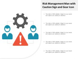Risk Management Man With Caution Sign And Gear Icon