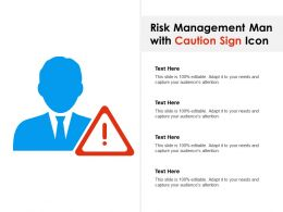 Risk Management Man With Caution Sign Icon