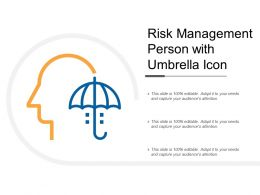 Risk Management Person With Umbrella Icon