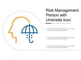Risk Management Person With Umbrella Icon