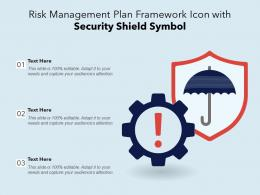 Risk Management Plan Framework Icon With Security Shield Symbol
