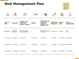 Risk Management Plan H166 Ppt Powerpoint Presentation Show Example