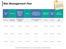 Risk Management Plan Target Date Ppt Powerpoint Presentation Show Layout