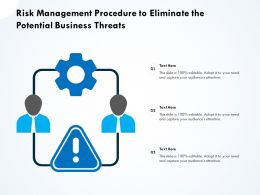 Risk Management Procedure To Eliminate The Potential Business Threats