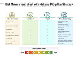 Risk Management Sheet With Risk And Mitigation Strategy