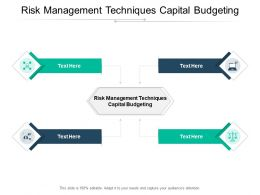 Risk Management Techniques Capital Budgeting Ppt Powerpoint Presentation Infographic Cpb