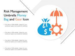 Risk Management Umbrella Money Bag And Gear Icon