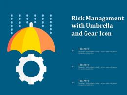 Risk Management With Umbrella And Gear Icon