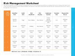Risk Management Worksheet Controls Ppt Inspiration