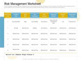 Risk Management Worksheet Ppt Powerpoint Presentation File Graphics Tutorials