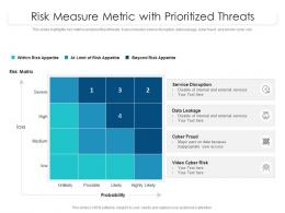 Risk Measure Metric With Prioritized Threats