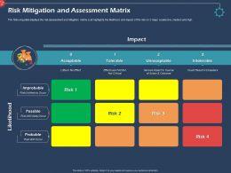 Risk Mitigation And Assessment Matrix Intolerable Ppt Presentation Examples