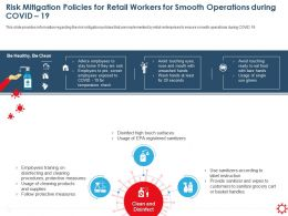 Risk Mitigation Policies For Retail Workers For Sanitizers Ppt Presentation Template