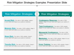 Risk Mitigation Strategies Examples Presentation Slide