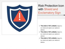 Risk Protection Icon With Shield And Exclamatory Sign