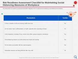 Risk Readiness Assessment Checklist Parameters Ppt Presentation Files