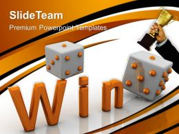 Risk Strategy Powerpoint Templates Win Dice Game Success Leadership Ppt Design Slides
