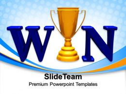 Risk Strategy Powerpoint Templates Win Trophy Cups Success Ppt Slides