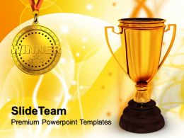 Risk Strategy Powerpoint Templates Winner Trophy Success Education Ppt Themes