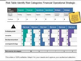 Risk Table Identify Risk Categories Financial Operational Strategic