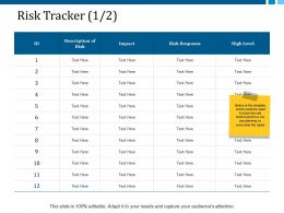 Risk Tracker 1 2 Ppt Layouts Templates