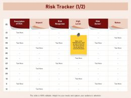 Risk Tracker Overcome Factor Owner Ppt Powerpoint Presentation Structure