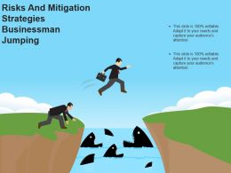 Risks And Mitigation Strategies Businessman Jumping Powerpoint Images