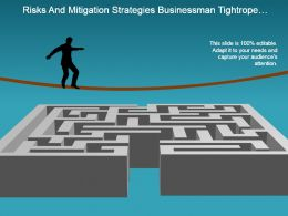 Risks And Mitigation Strategies Businessman Tightrope Maze Powerpoint Show