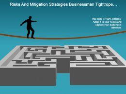 risks_and_mitigation_strategies_businessman_tightrope_maze_powerpoint_show_Slide01