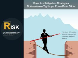 Risks And Mitigation Strategies Businessman Tightrope Powerpoint Slide