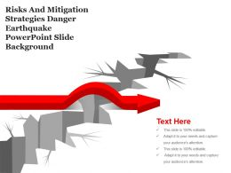 Risks And Mitigation Strategies Danger Earthquake Powerpoint Slide Background