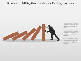 Risks And Mitigation Strategies Falling Barriers Powerpoint Slide Clipart