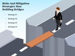Risks And Mitigation Strategies Man Building Bridges Powerpoint Slide Ideas