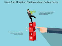Risks And Mitigation Strategies Man Falling Boxes Powerpoint Slide Influencers