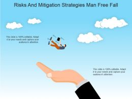 Risks And Mitigation Strategies Man Free Fall Powerpoint Slide Information