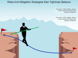 Risks And Mitigation Strategies Man Tightrope Balance Powerpoint Slide Inspiration