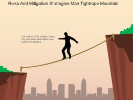 Risks And Mitigation Strategies Man Tightrope Mountain Powerpoint Slide Introduction