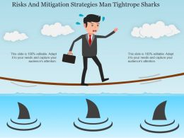 Risks And Mitigation Strategies Man Tightrope Sharks Powerpoint Slide Rules