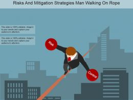 Risks And Mitigation Strategies Man Walking On Rope Powerpoint Slide Show