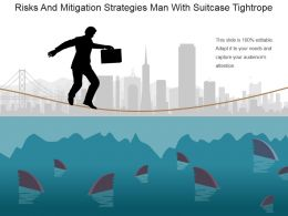 Risks And Mitigation Strategies Man With Suitcase Tightrope Powerpoint Slide Template