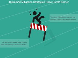Risks And Mitigation Strategies Race Hurdle Barrier Powerpoint Slides