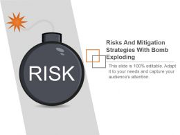 Risks And Mitigation Strategies With Bomb Exploding Powerpoint Themes