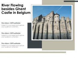 River Flowing Besides Ghent Castle In Belgium