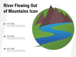River Flowing Out Of Mountains Icon