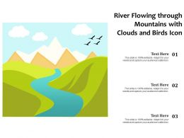 River Flowing Through Mountains With Clouds And Birds Icon