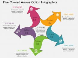 rj Five Colored Arrows Option Infographics Flat Powerpoint Design