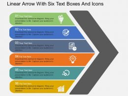 Rj Linear Arrow With Six Text Boxes And Icons Flat Powerpoint Design