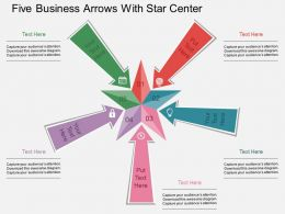 rk Five Business Arrows With Star Center Flat Powerpoint Design