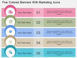 rk Five Colored Banners With Marketing Icons Flat Powerpoint Design